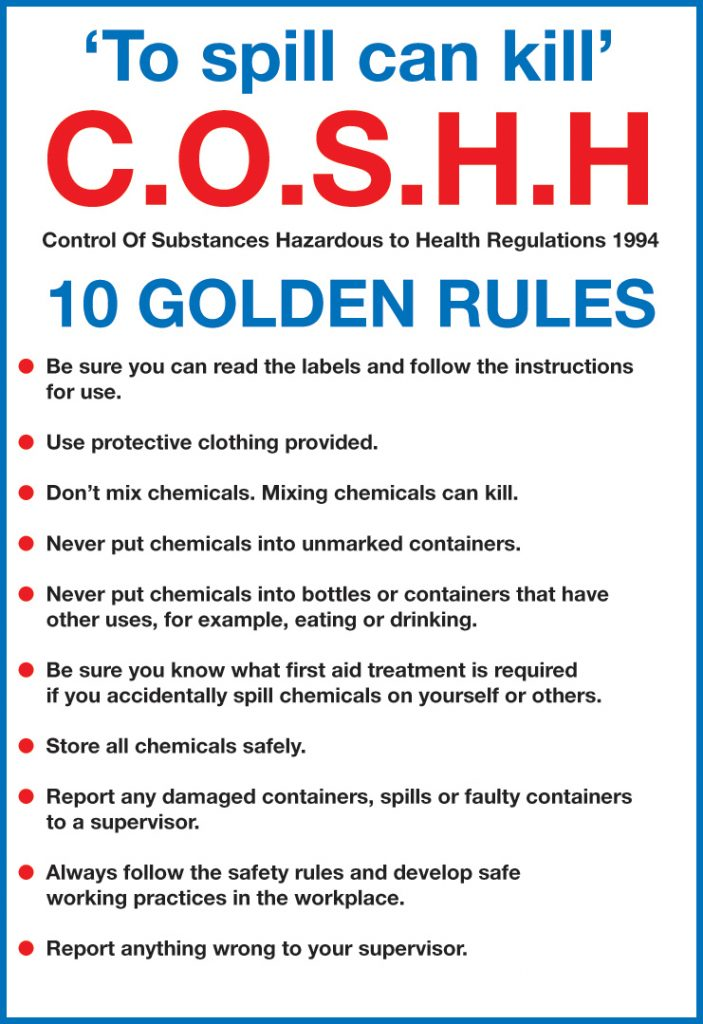 Signs Amp Labels 297x210mm Coshh 10 Golden Rules Selectequip