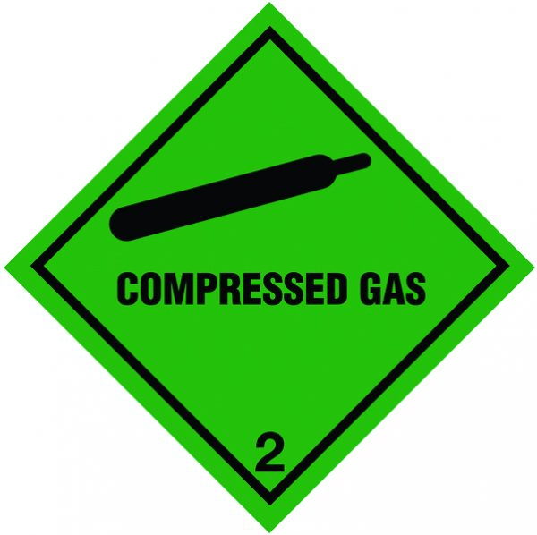 signs labels 100x100mm compressed gas hazard warning diamond roll