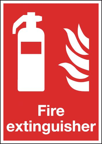 Signs Labels 297x210mm Fire Extinguisher Symbol Flame Rigid