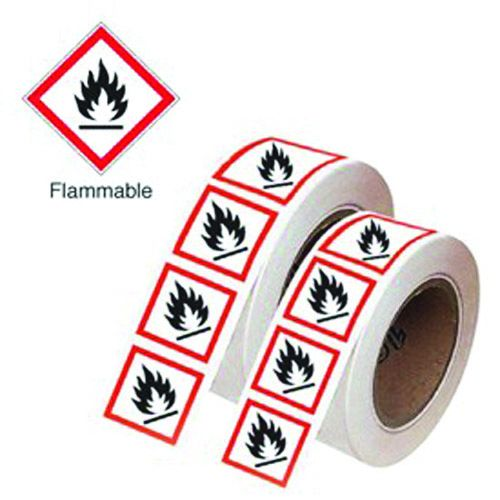 Signs & Labels 100x100mm Flammable GHS Symbols On A Roll