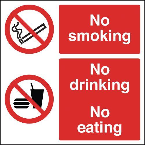 300x300mm No Smoking No Drinking No Eating - Self Adhesive